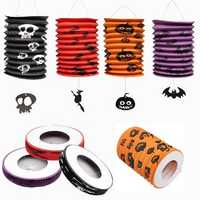 Halloween Pumpkin Bat Pattern Paper Lantern Party Decorations Yard Hanging Decor