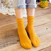 Women Ladies Solid Cotton Middle Socks Casual Soft Breathable Sock