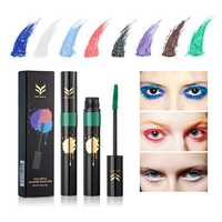 HUAMIANLI Black White Blue Mascara Halloween Makeup Lashes Quick Dry Colorful Waterproof Cosplay