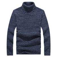 Mens Winter Warm Turtleneck Knitted Sweater Casual Slim Fit Pullover Sweater