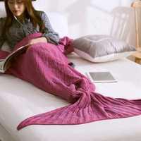 Honana WX-29 3 Size Yarn Knitting Mermaid Tail Blankets Fibers Warm Soft Home Office Sleep Bag Bed Mat