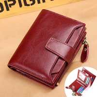 Women Bifold Vintage Genuine Leather Short Wallet 11 Card Slots Card Holder Coin Purse
