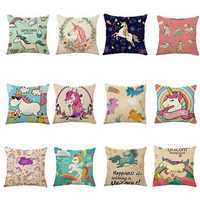 Honana 45x45cm Home Decoration Cartoon Unicorn Animal Square 12 Optional Patterns Cotton Linen Pillowcases Sofa Cushion Cover Chair Seat
