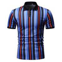 Mens Fashion Colorful Stripe Buttons Golf Shirts