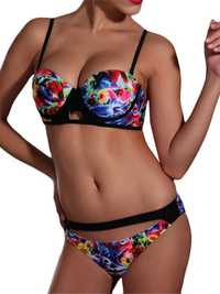 Sexy Women Show-Off Printed Bikini Key Hole Front Hollow Out Swimwear Sets