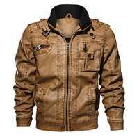 Mens Fashion Motorcycle Faux Leather Epaulet Khaki Jacket