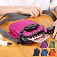 Universal Three-Layers Storage Detachable Strap Shoulder Waist Bag Handbag For Smartphone