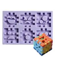 Blocks Expression Silicone Cookie Mold Fondant Cake Mould Creative Baking Accesseries