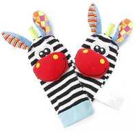 2Pcs Baby Lovely Animal Zebra Socks Rattles Toys Finders Glove Infant Kids Foot