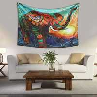 Mandala Elephant Tapestry 3D Digital Art Bedspread Dorm Wall Hanging Decorative