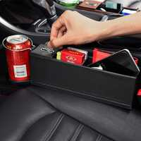 PU Leather Car Seat Crevice Storage Box Gap Organizer with Cup Drink Holder for Left-hand Drive