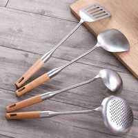 XIAOMI YISHIYIWU Kitchen 4 Pieces Stainless Steel Scoop Sleeve with Beech Handle Cooking Spoon