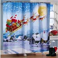 180x180cm Christmas Santa Claus Reindeer Bathroom Shower Curtains With 12 Hooks