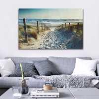 Ocean Beach Footprint Canvas Prints Paintings Wall Art Home Decor Unframed