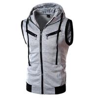 Summer Mens Casual Vest Fashion Sleeveless Vest Hooded