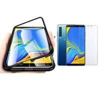 Bakeey Magnetic Adsorption Aluminum Alloy Tempered Glass Protective Case + 2.5D Tempered Glass Screen Protector For Samsung Galaxy A9 2018