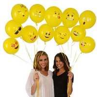 12Inches Random Smile Balloon Festive Balloon Cartoon Expression Balloon Yellow Inflatable Toys
