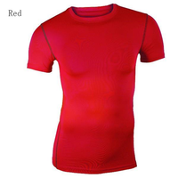 Men's Fashion Elasticity Tight O-Neck Short T-shirt Compression Body Building Top
