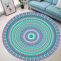 Green Blue Bohemia Mandala Pattern Carpet Soft Round Floor Mat Carpet Kids Play Mat