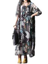 L-5XL Vintage Women Printed Double Layer O-Neck Maxi Dress