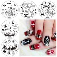 5pcs Cute Christmas Tree Nail Image Stamps Set Snowflake Template Snowman Cloud Santa Claus Manicure