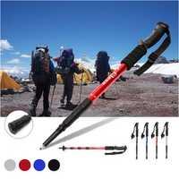 1Pcs Folding 4-Section Trekking Camping Hiking Climbing Sticks Anti-shock Emergency Tool