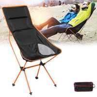 Outdoor Portable Folding Fishing Chair Aluminum Camping Chair BBQ Stool Max Load 150kg
