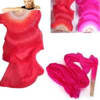 1.8m Lengthen Belly Dance Fan Imitated Silk Fabric Bamboo Fans Dance Dancing Performance Supplies