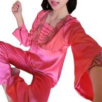 Soft Silk Lace-trim Long Sleeve Pajamas Suit