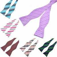 PenSee Men's Self Bow Ties Stripe Paisley Jacquard Woven Silk Neckties Accessory