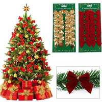 Honana CF-461 12PCS Gold Red Silver Christmas Tree Bow-knot Decorations for Home Bauble New Year Decoration