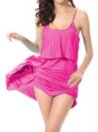 SWIMMART Solid Color Soft Beach Dress Stretchy Multicolor Back Lace-Up Cover Up