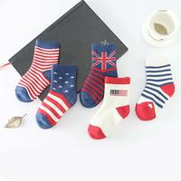 5 Pairs/Lot Cotton British Flag Mix Color Socks Stripe Dot Ventilation Children Socks