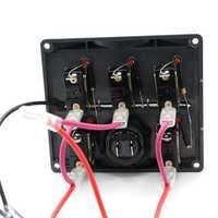 12V 24V Car Motorboat 5 Gang LED Rocker Toggle Switch Panel Digital Display Boat Voltage Meter