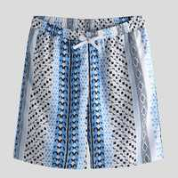 Men Ethnic Pattern Print Drawstring Beach Relaxed Shorts