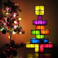 DIY Tetris Puzzle Novelty LED Night Light Stackable LED Desk Table Lamp Constructible Block Kids Toy's Light Christmas Gift