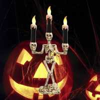 Battery Powered Prop Skeleton Ghost Haunted 3 LED Candle Holder Backdrop Table Halloween Party Decor