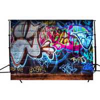 5x3FT Graffiti Wall Theme Photography Background Photo Backdrop Studio Props