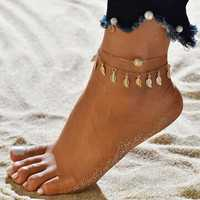 Vintage Tassels Leaves Double Layer Women Anklets
