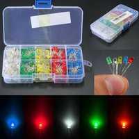 500Pcs 3mm LED Light White Yellow Red Blue Green DIY Assortment Diodes Kit