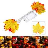 1.5M 10 LED Fall Maple Fairy Light String Garland Lamp Christmas Light Xmas Home Decor