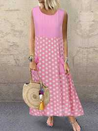 Polka Dot Patchwork Irregular Dress