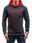 Meilleurs prix Men's Casual Zipper Decoration Drawstring Hooded Sweatshirt