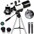 Meilleurs prix Astronomical Telescope 70mm Aperture 300mm Focal Length Tripod Outdoor Camping Telescope for Kids & Beginners