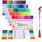 Promotion 48/60/80/100 Pcs Colors Dual Head Brush Colored Pens Fine Liner Drawing Painting Watercolor Marker Pen School Art Supplies