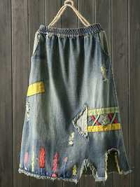 Embroidered Patch Denim Skirt