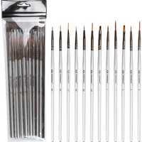 Transon 12 Pcs Nylonhair Hook Line Pens Nylon Brush Painting Pens Brush Art Stationery Watercolor Drawing Painting Brush Pen Children DIY Art Supplies Tools