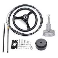 10FT Marine Engine Steering System Turbine Rotary Boat Yacht Outboard Mechanical Cable Wheel
