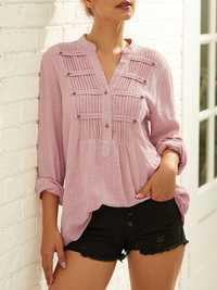 Chic Pleated Solid Color Shirt