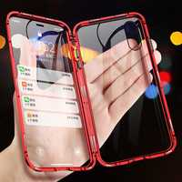 Luphie 360º Front Screen Protector & Back Glass Cover Metal Magnetic Adsorption Protective Case For iPhone XR/XS/XS Max/X/7/7 Plus/8/8 Plus